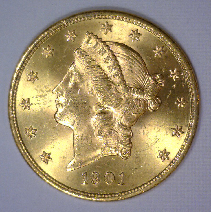 1901 $20 Liberty Head Gold Double Eagle BU UNC