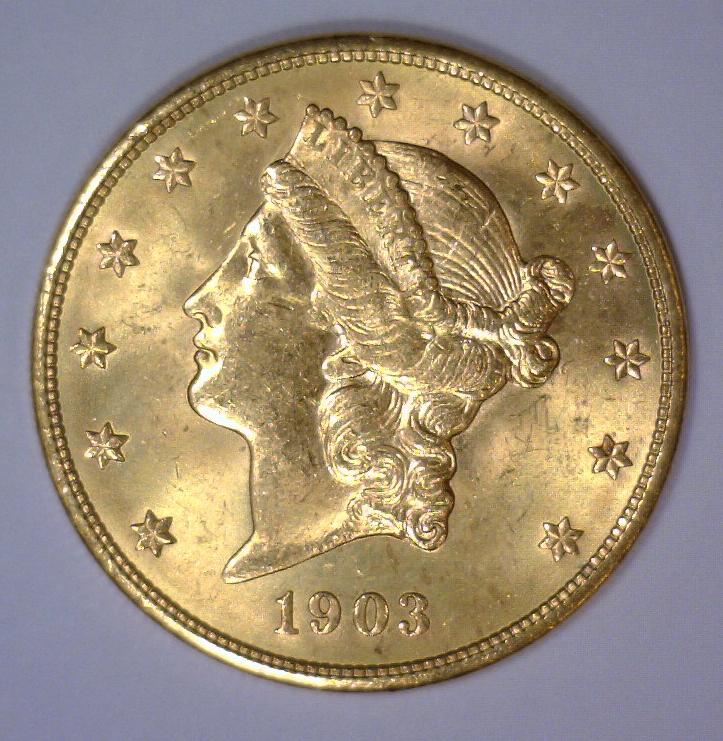 1903 $20 Liberty Head Gold Double Eagle BU UNC