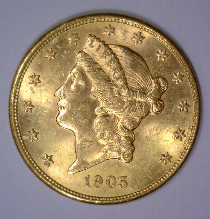 1905-S $20 Liberty Head Gold Double Eagle BU UNC