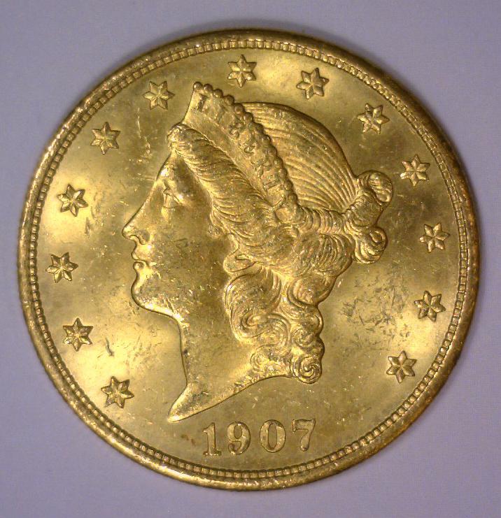 1907 $20 Liberty Head Gold Double Eagle BU UNC