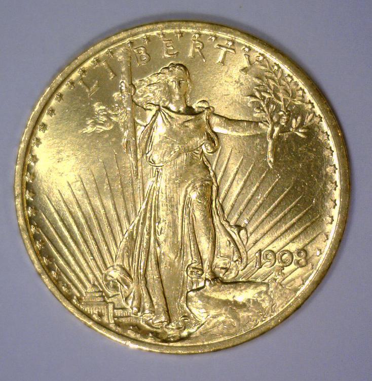 1908 $20 St Gaudens NO MOTTO Gold Double Eagle BU