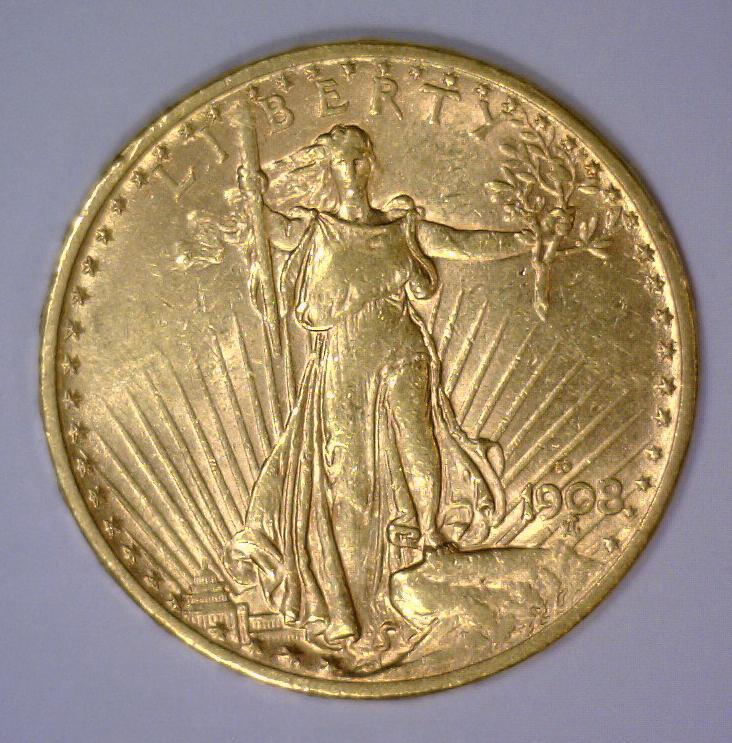 1908-D $20 St Gaudens NM Gold Double Eagle BU