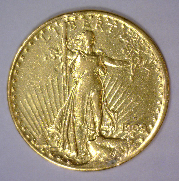 1909-D $20 St. Gaudens Gold Double Eagle XF Detail