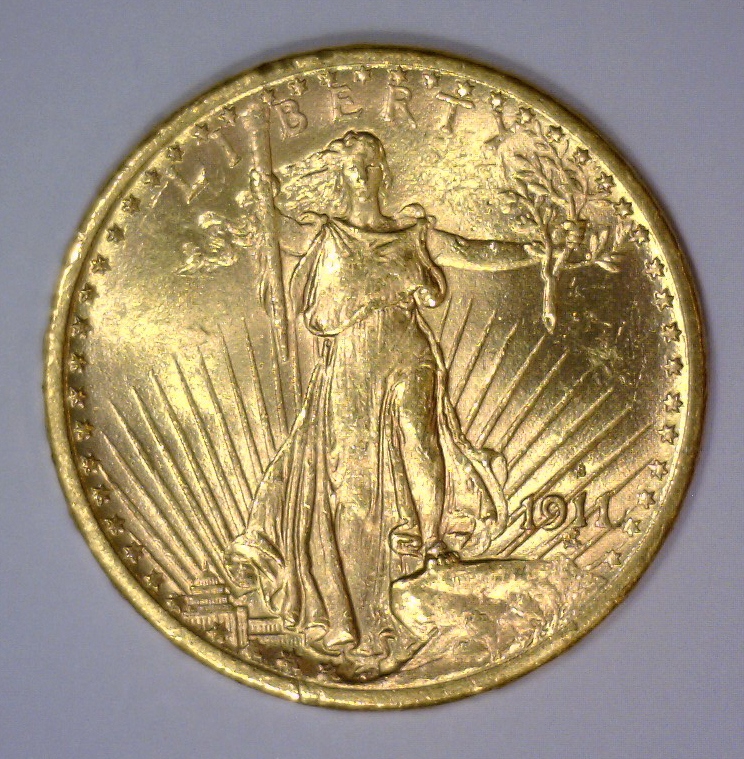 1911-S $20 St. Gaudens Gold Double Eagle BU UNC