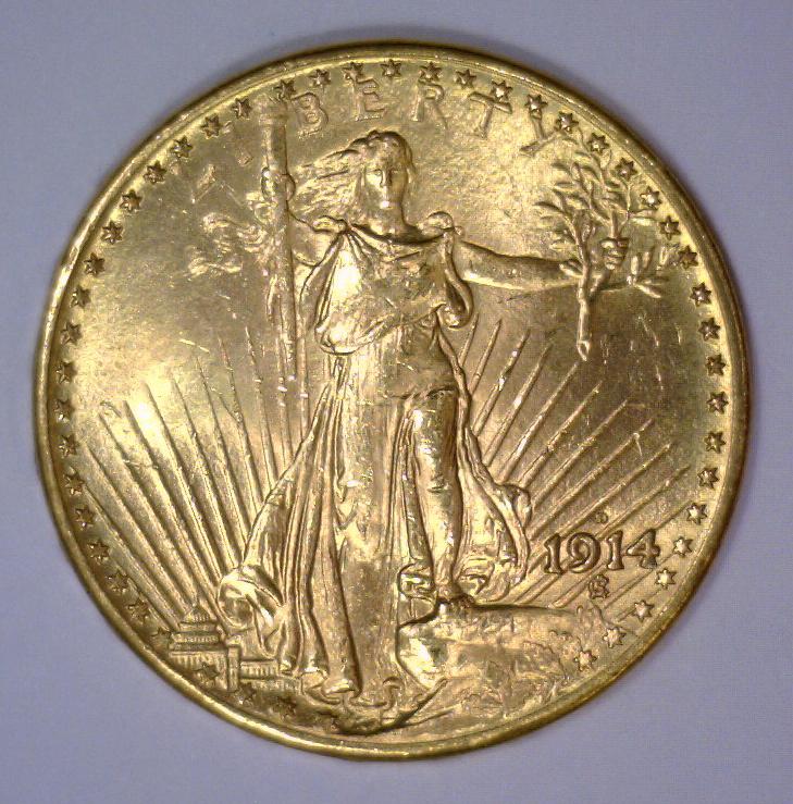 1914-D $20 St. Gaudens Gold Double Eagle BU UNC