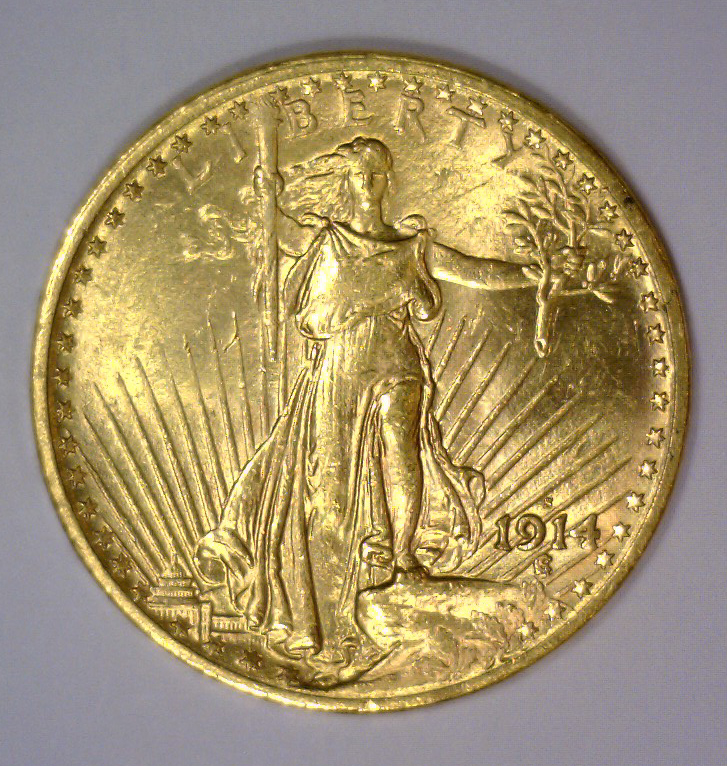 1914-S $20 St. Gaudens Gold Double Eagle BU UNC