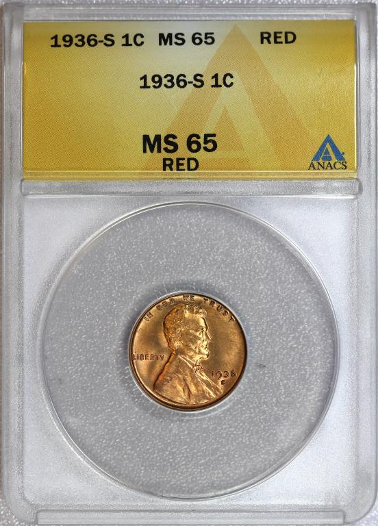 1936-S Lincoln Cent Gem BU ANACS MS65 RD Red