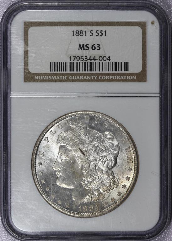 1881-S Morgan Silver Dollar NGC MS63