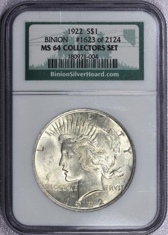1922 Peace Silver $1 BINION HOARD NGC MS64