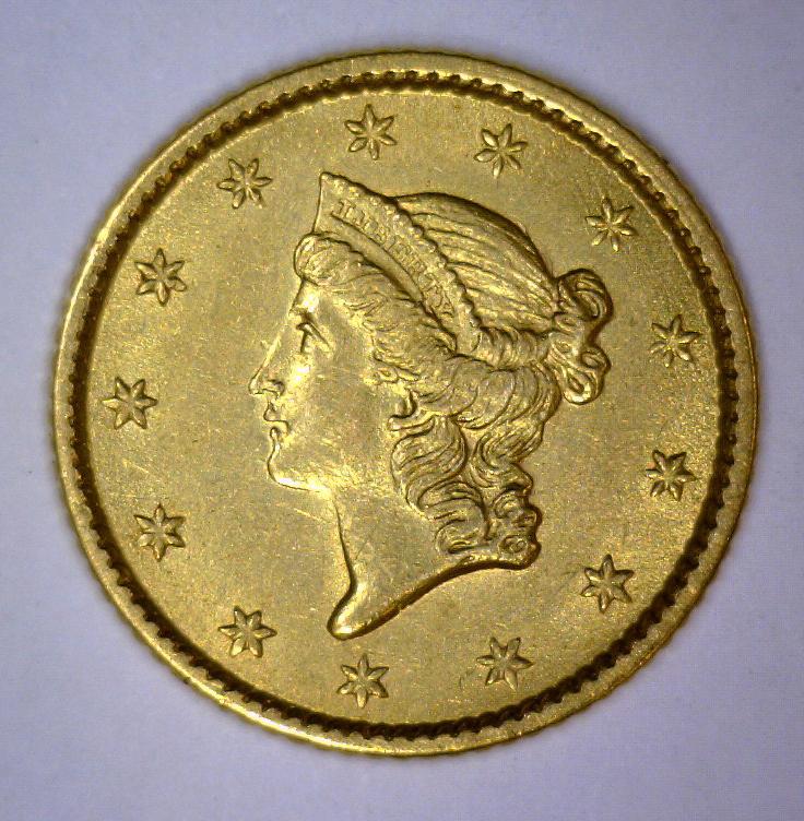 1853 $1 Liberty Head Gold Dollar AU+