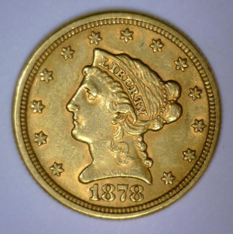 1878 $2.5 Liberty Gold Quarter Eagle AU+