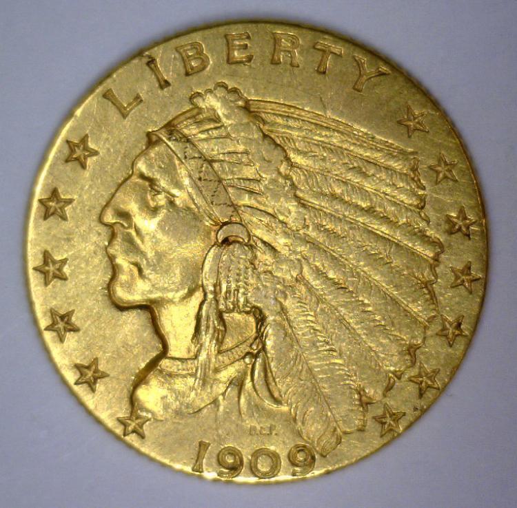 1909 $2.5 Indian Gold Quarter Eagle Extra Fine XF