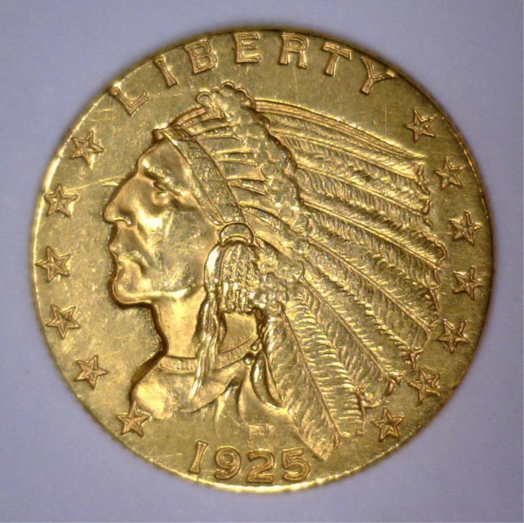 1925-D $2.5 Indian Gold Quarter Eagle XF