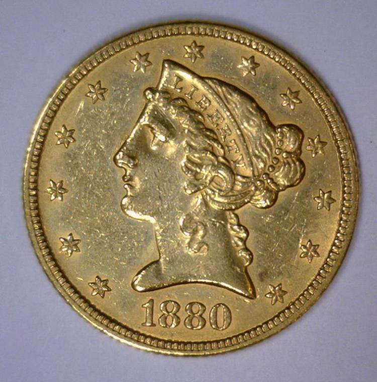 1880 $5 Liberty Head Half Eagle Extra Fine XF
