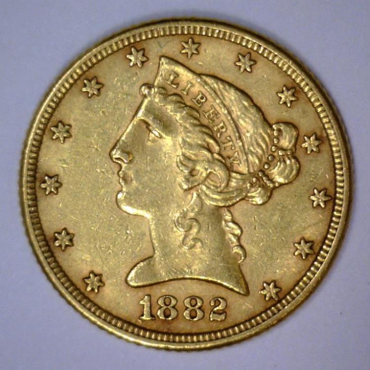 1882 $5 Liberty Head Half Eagle Extra Fine XF