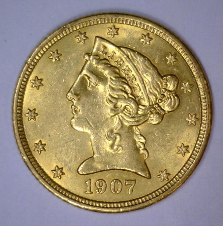 1907 $5 Liberty Head Half Eagle Uncirculated BU