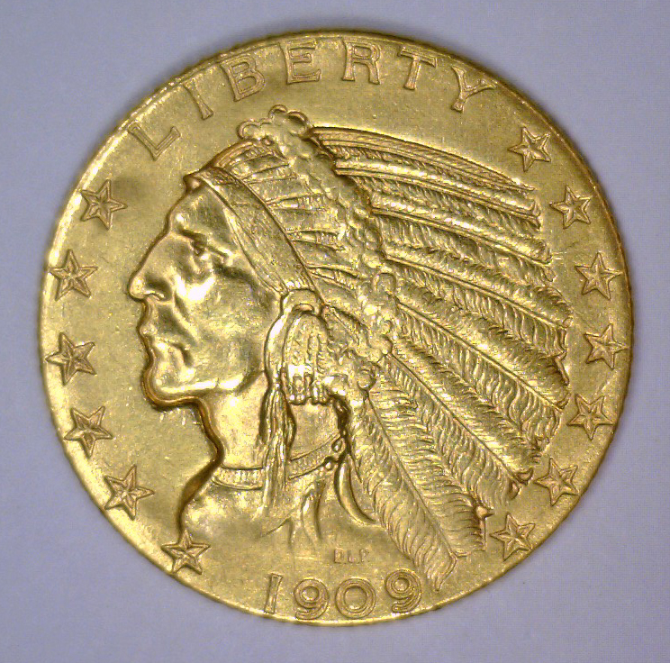 1909-D $5 Indian Gold Half Eagle Extra Fine XF