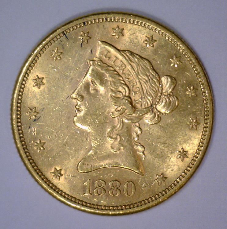 1880-S $10 Liberty Head Gold Eagle BU UNC