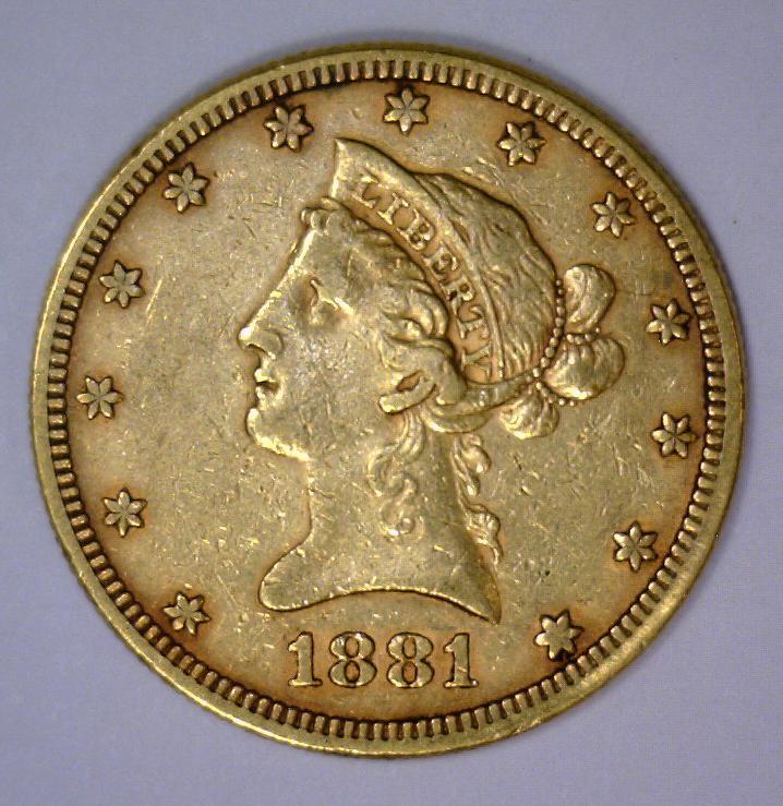 1881 $10 Liberty Head Gold Eagle Extra Fine XF