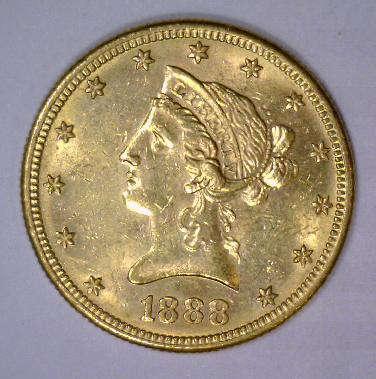 1888-S $10 Liberty Head Gold Eagle AU