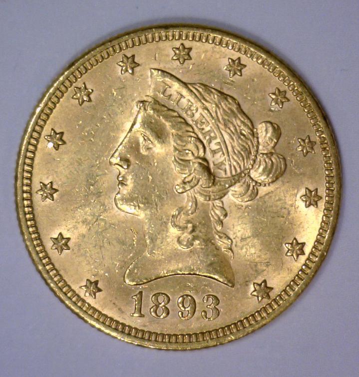 1893 $10 Liberty Head Gold Eagle BU UNC