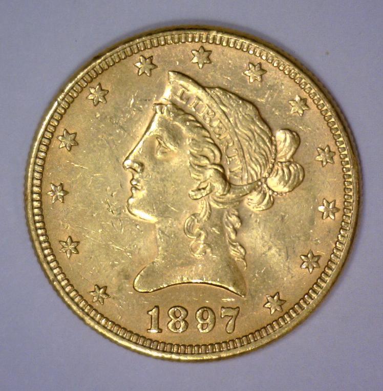 1897 $10 Liberty Head Gold Eagle AU