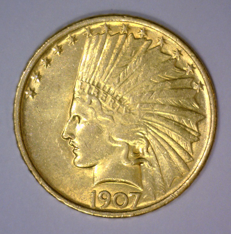 1907 $10 Indian Gold Eagle About Uncirculated AU