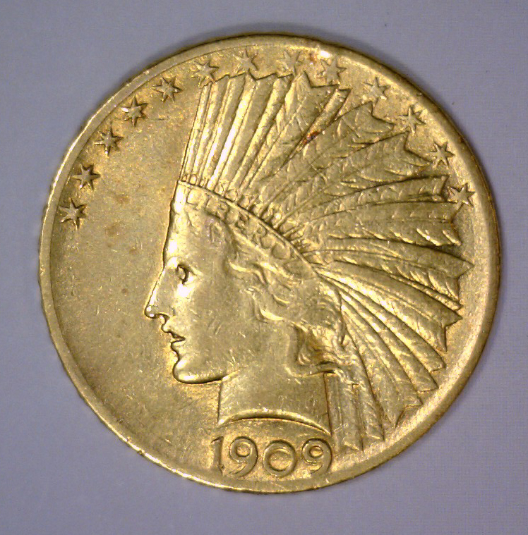 1909 $10 Indian Gold Eagle Extra Fine XF