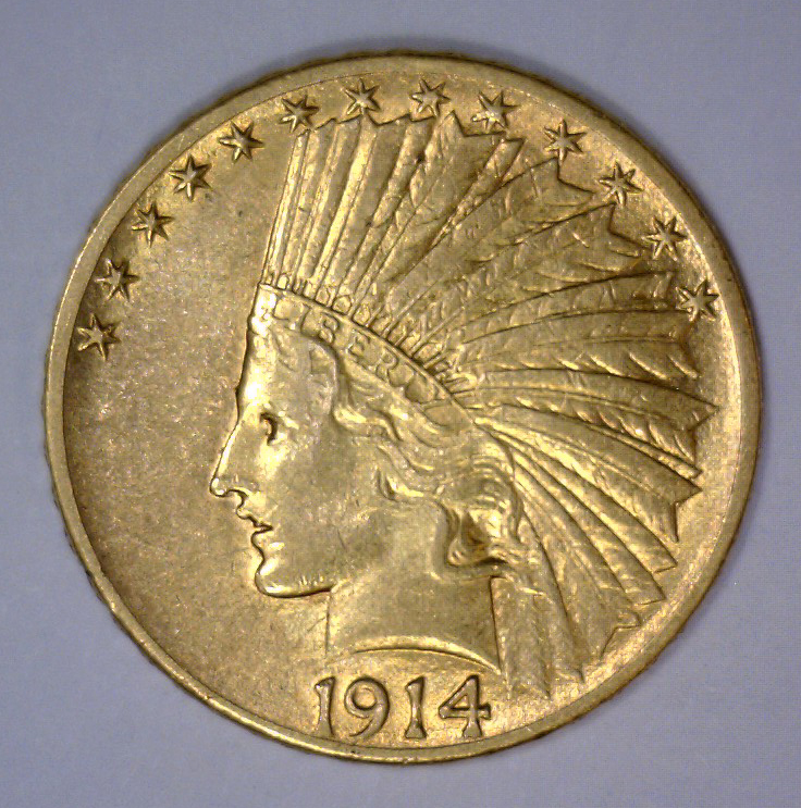 1914-S $10 Indian Gold Eagle About Uncirculated AU