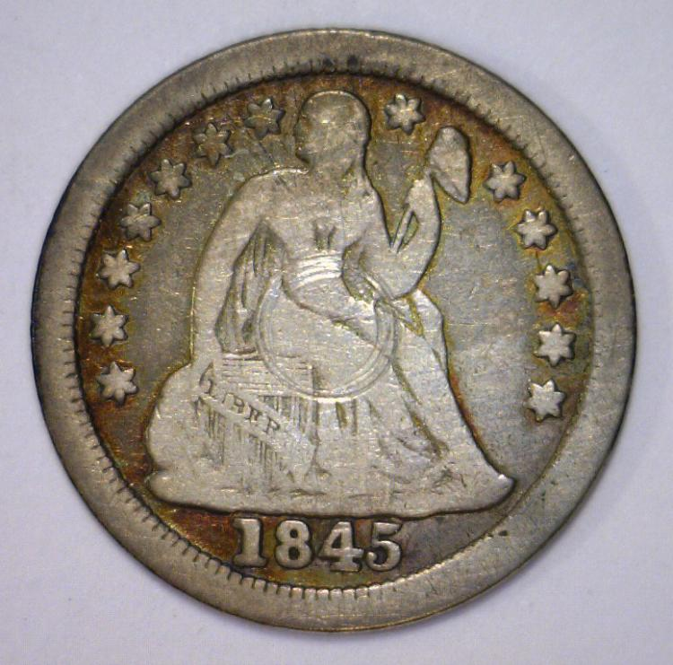 1845-O Seated Liberty Silver Dime VG Damaged