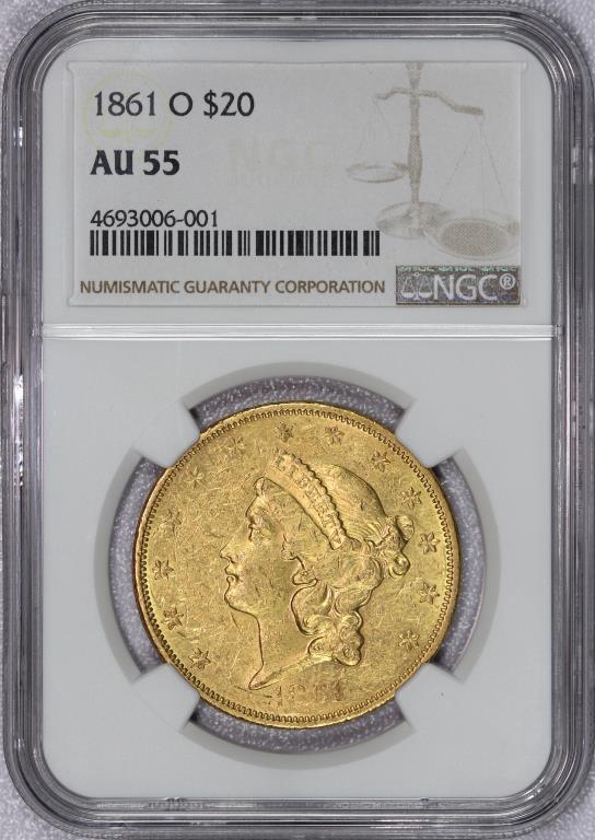 1861-O $20 Liberty Gold Double Eagle NGC AU55