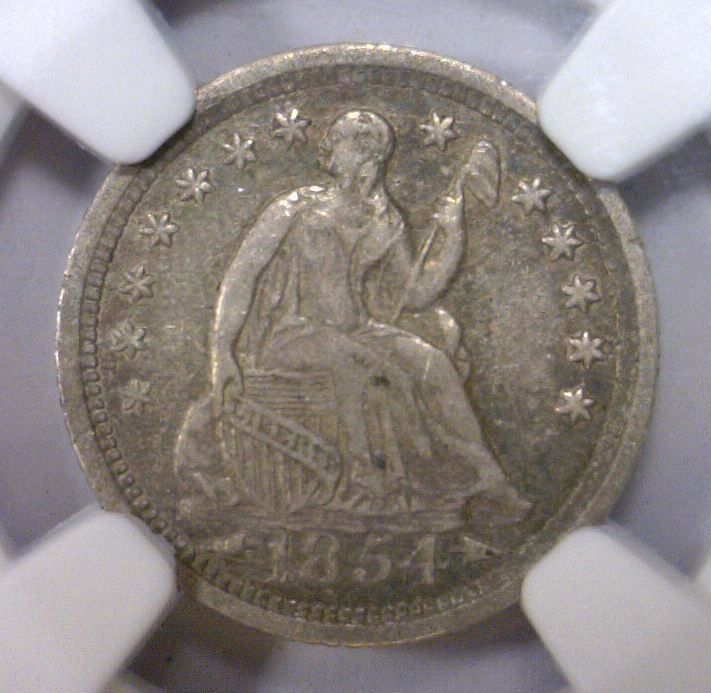 1854-O Seated Silver Half Dime w/Arrows NGC VF35