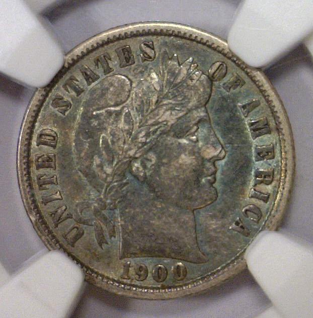 1900 Barber Silver Dime Color Toned NGC XF45