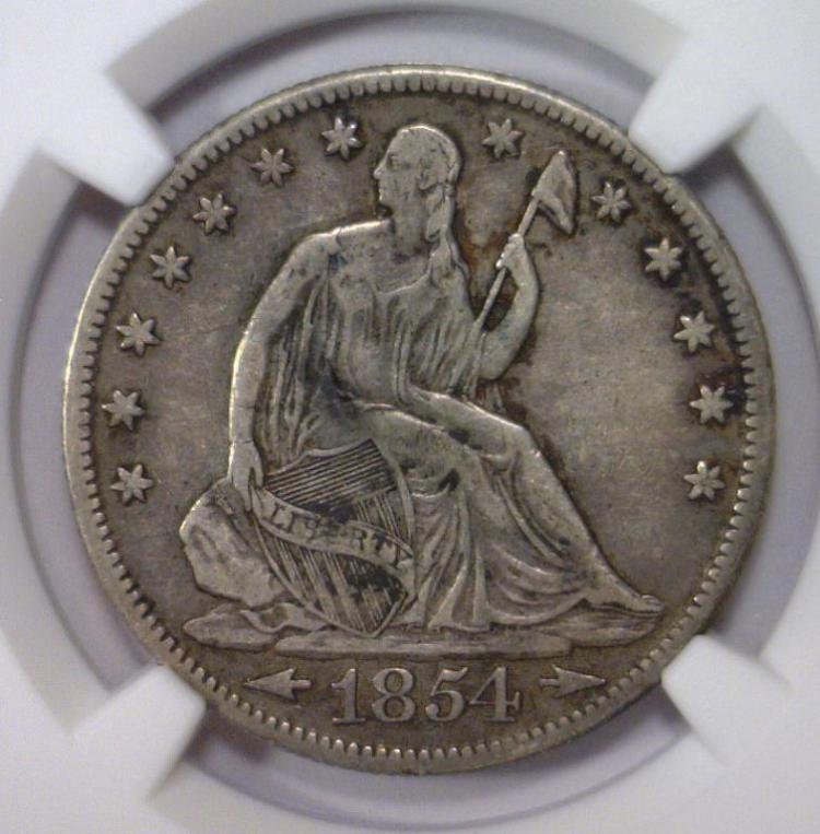 1854 Seated Liberty Silver Half w/Arrows NGC VF30
