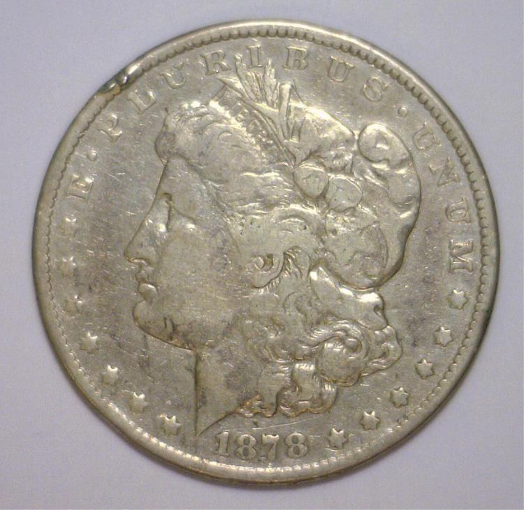 1878-CC Morgan Silver Dollar Very Good VG details