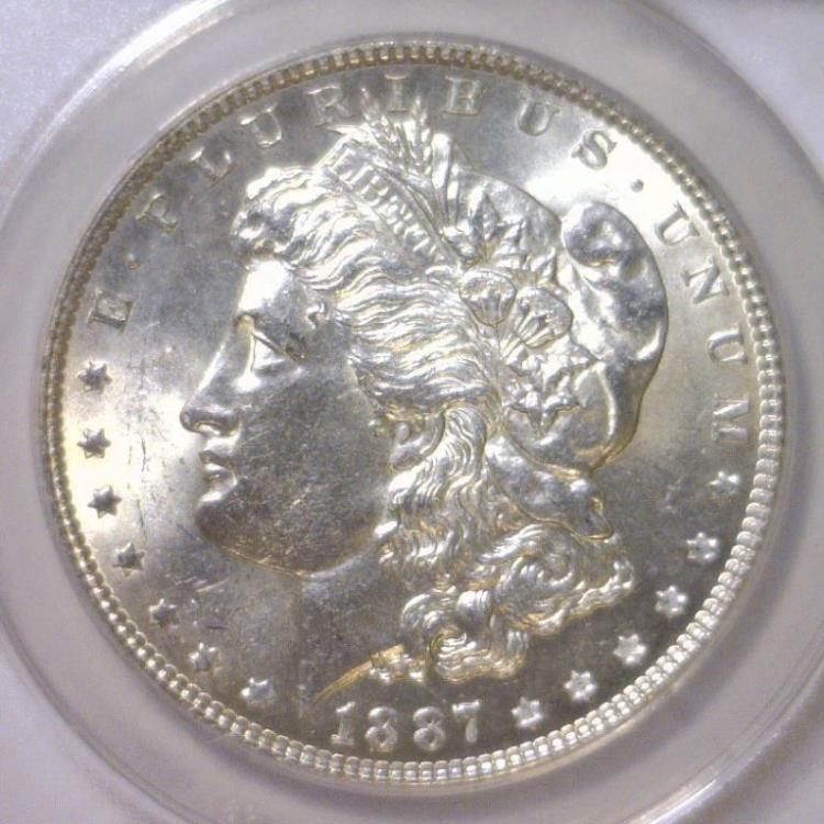1887 Morgan Silver Dollar ANACS MS62