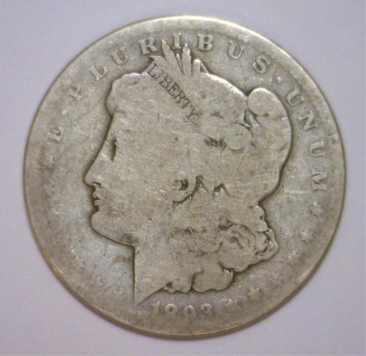 1893-CC Morgan Silver Dollar About Good AG