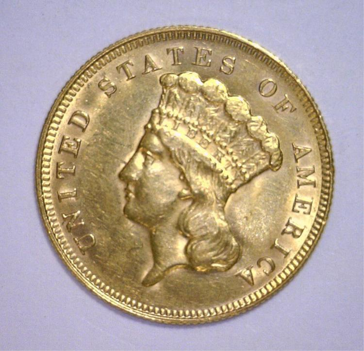 1878 $3 Indian Princess Head Gold AU/UNC Cleaned