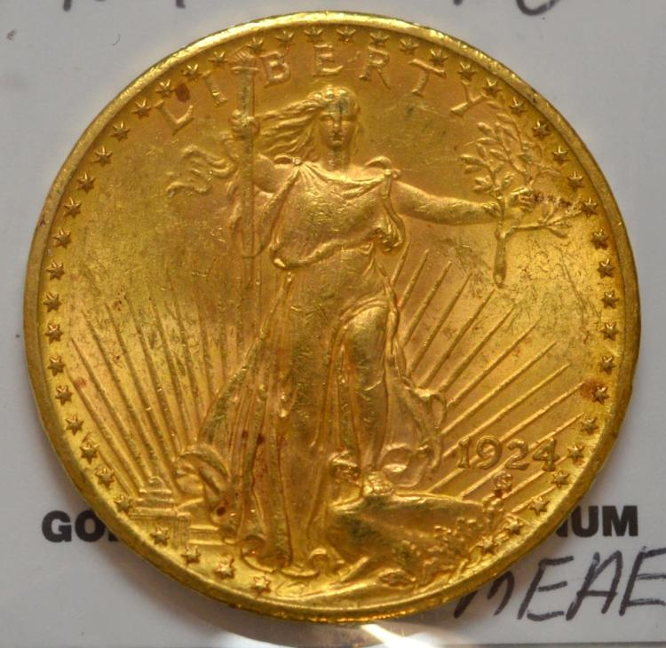 1924 $20 Saint Gaudens Gold Double Eagle BU