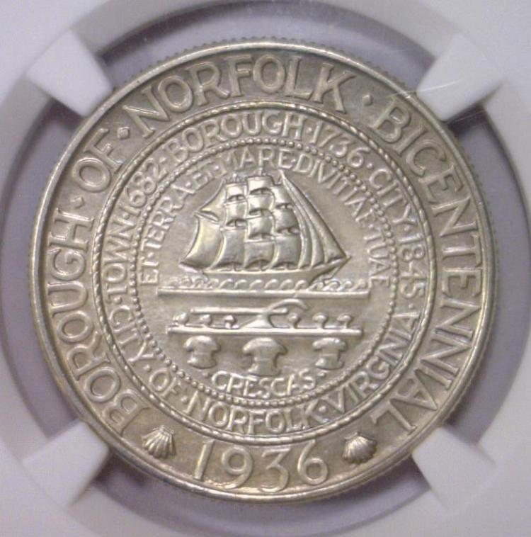 1936 Norfolk Silver Commemorative Half NGC UNC det