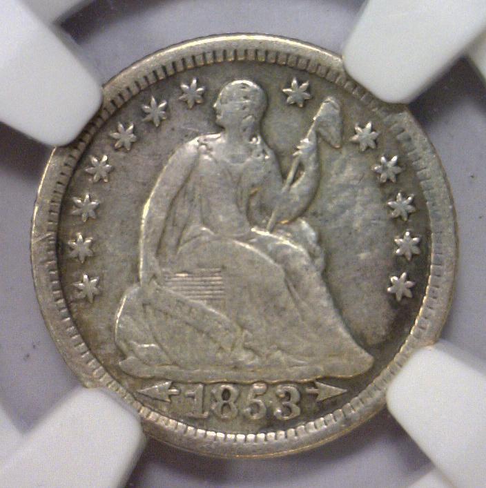 1853 Seated Liberty Silver Half Dime NGC I/C