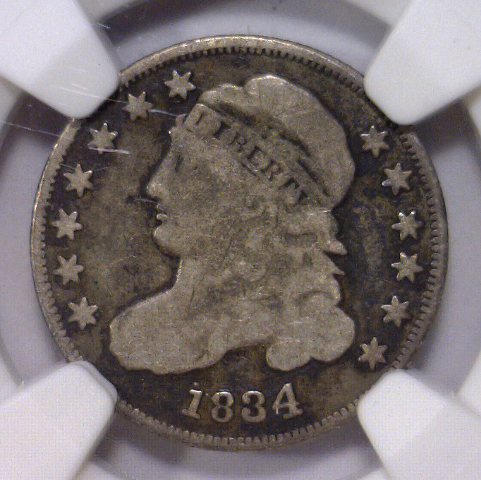 1834 Capped Bust Silver Dime NGC VG details