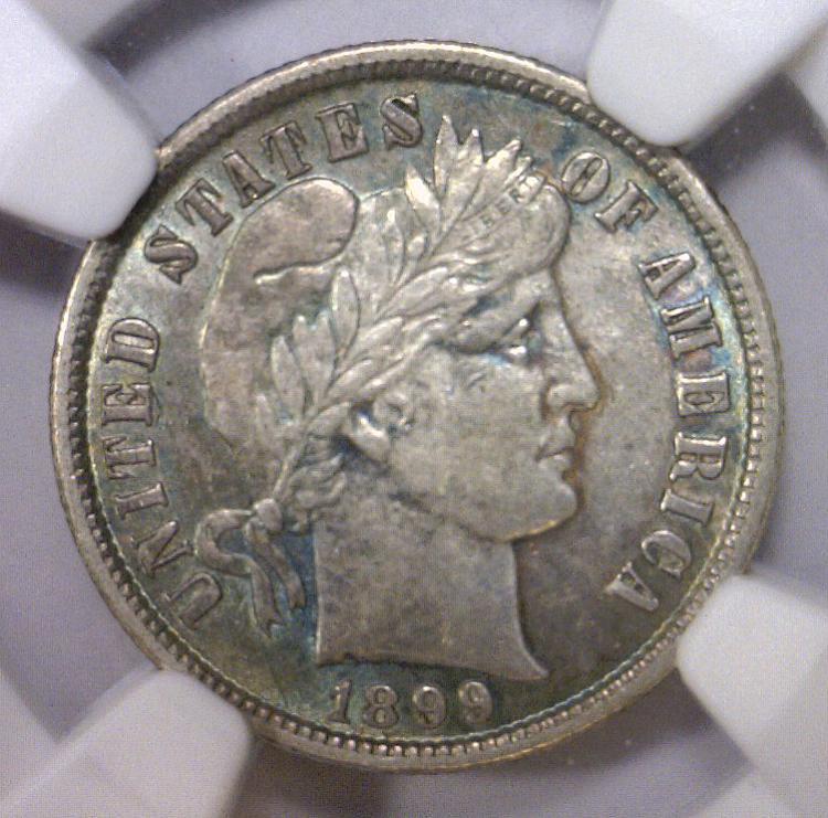 1899 Barber Silver Dime NGC AU details Obv I/C
