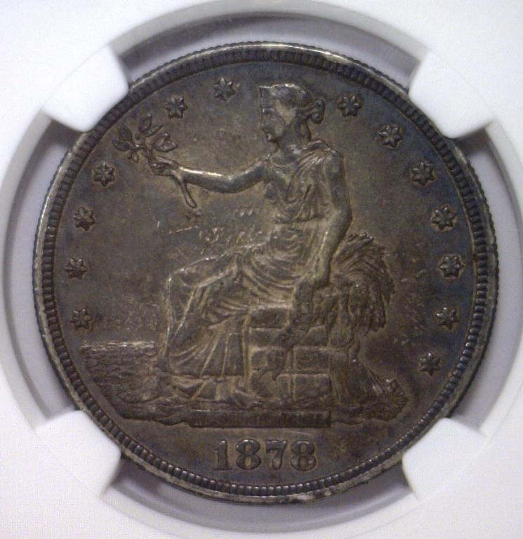 1878-S Trade Silver $1 NGC VF det. Rev scratched
