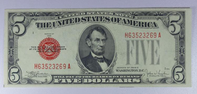 1928-E $5 Red Seal Legal Tender Note XF
