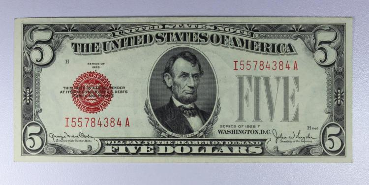 1928-F $5 Red Seal Legal Tender Note XF