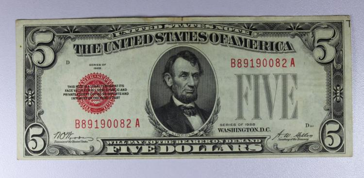 1928 $5 Red Seal Legal Tender Note XF/AU