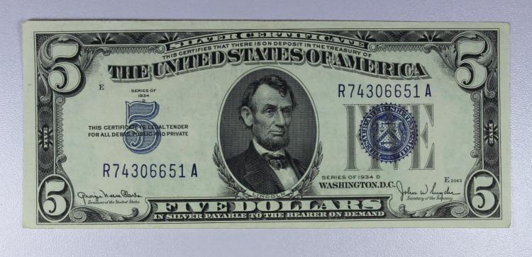 1934-D $5 Blue Seal Silver Certificate AU