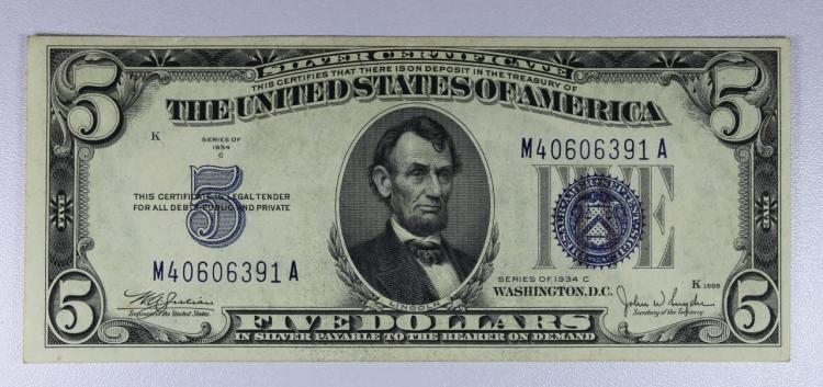 1934-C $5 Blue Seal Silver Certificate AU/UNC
