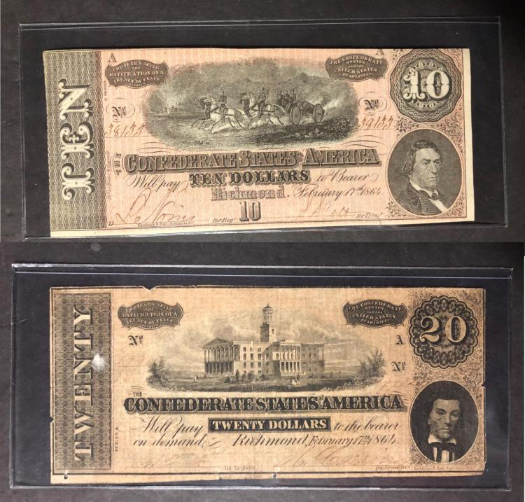 1864 $10 and $20 Confederate Note Pair XF & Circ